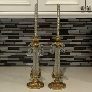 VINTAGE CRYSTAL CANDLESTICK SET OF TWO STUNNING